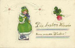 AK Neujahr Mädchen Kleeblatt Geprägt Color 1935 #26 - New Year