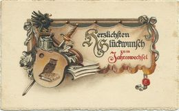AK Neujahr Wappenschild Prägung Österreich Color 1920 #30 - New Year
