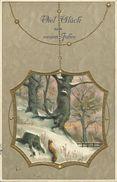 AK Neujahr New Year Fensterbild Landschaft Präge-AK 1910 #41 - Nouvel An