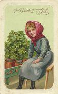 AK Neujahr New Year Mädchen Glücksklee Präge-AK Color 1911 #43 - Nieuwjaar