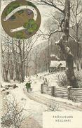 AK Neujahr New Year Jäger Hund Hufeisen Farblitho 1907 #65 - New Year