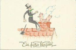 AK Neujahr Schornsteinfeger & Schweinchen Aus Kamin Color 1934 #23 - Neujahr