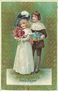 AK Neujahr New Year Mädchen & Junge Präge-AK ~1910 #38 - Anno Nuovo