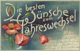 AK Neujahr New Year Blumen Dekorschrift Farblitho 1904 #03 - Año Nuevo