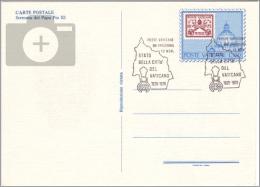Vaticano - 1979 - Cartoline Postali, 50 Anni Del Vaticano, L. 150 Blu E Rosso - FDC - Stamp-on-Stamp - Francobolli Su Francobolli