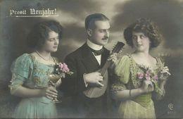 AK Neujahr New Year Frauen Kleider Sektgläser Musikant Color 1909 #91 - Neujahr