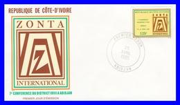 710 (Yvert) Sur FDC Illustrée - ZONTA International 7ème Conférence Du District XVIII à Abidjan - Côte D'Ivoire 1985 - Côte D'Ivoire (1960-...)