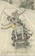 AK Neujahr New Year 5 Frauen Auf Schlitten Sektgläser Th. Zasche Color 1912 #01 - New Year