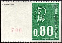 France Roulette N° 1894 A ** Marianne De Béquet 0.80 Cts Vert Numéro Rouge Au Verso - Rollen