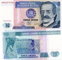 PERU 10 INTIS 1987 PICK 129 UNC - Perú