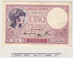 FAYETTE N°4 - 5 F VIOLET - 5/10/1939 (ANNEE RARE) - Aucun Trou - 1 Pli Non Marqué Et 1 Petite Tache
