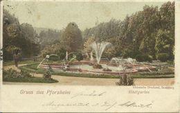 AK Pforzheim Stadtgarten Color 1899 Bahnpost Strassburg - Mühlacker #01 - Pforzheim