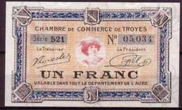 AUBE - 1926 - BON De 1F. De La CHAMBRE DE COMMERCE De TROYES - NEUF - FILIGRANE ABEILLE - Chambre De Commerce