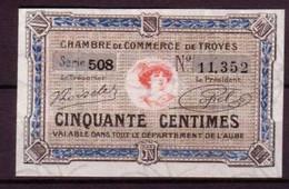 AUBE - 7°EMISSION - BON De 50c. De La CHAMBRE DE COMMERCE De TROYES - NEUF - FILIGRANE ABEILLE - Camera Di Commercio