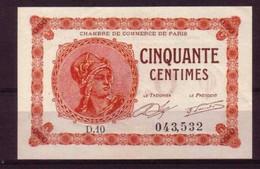 PARIS - 1920 - BON De 50c. De La CHAMBRE DE COMMERCE De PARIS - NEUF - Camera Di Commercio
