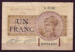 PARIS - 1920 - BON De 1F. De La CHAMBRE DE COMMERCE De PARIS - - Cámara De Comercio