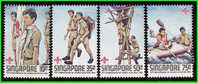 1982 Singapore Boy Scouts Stamps Boating Rafting Scout - Rafting