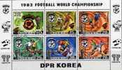 Fussball WM Rimet-Pokal 1981 Korea 2099/4,6xZD,KB Plus Block 94 O 52€ Karte Maskottchen Von Spanien Sheetlet From Coree - Corée Du Nord