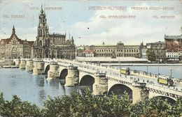 AK Dresden Friedrich August-Brücke Bahnen Color 1912 #110 - Dresden