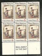USA. Scott # 1470 MNH. Mail Early Block Of 6. Tom Sawyer 1972 - Blocs-feuillets