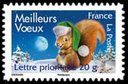 France Animaux Mammifères N° 4120 ** Ou Autoadhésif 140 - Meilleurs Voeux 2008 - Ecureuil - Rongeur - Rongeurs