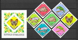 Maldives 1973 MiNr. 463 - 470 (Block 19) Malediven BUTTERFLIES Orange Oakleaf BIRDS BATS TURTLES 7v+1bl MNH** 37,00 € - Vlinders