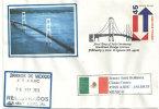 Mackinac Bridge,(the Longest Suspension Bridge 2626m), Michigan. Oblit. Temp. Illustrée Sur Lettre Adressee Au Mexique - Ponti