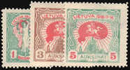 LITHUANIA 1920 2ND INDEPENDENCE TOP THREE VALUES FINE MINT - Lithuania