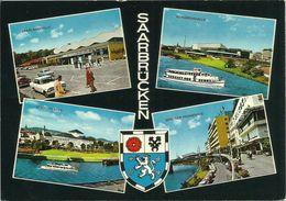 AK Saarbrücken Mehrbild 4 Ansichten Autos + Wappen Farbfoto ~1970 #2261 - Saarbruecken