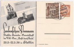 Stettin Landesschau Pommern 20.3.-22.3.1938 SST Tag Der Briefmarke 13.1.1941 STETTIN Private Ganzsache M Zusatzfrankatur - Allemagne