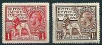 Grossbritannien  1924  Brit. Empire-Ausstellung   Mi-Nr.166/67  Falz * / MH - Ungebraucht