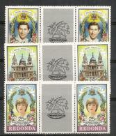 Mariage De Charles & Diana. 6 T-p Neufs **  Des Iles  Redonda - Antigua Et Barbuda (1981-...)