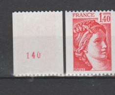 FRANCE / 1980 / Y&T N° 2104a ** : Sabine 1F40 Rouge De Roulette (n° Rouge) X 1 - Ungebraucht