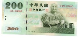 * CHINA ( TAIWAN ) - 200 YUAN 2001 UNC - P 1992 - Taiwan