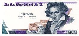 DE LA RUE SPECIMEN S.A. Varinota Beethoven Uniface Intaglio Specimen Test Note UNC - Specimen