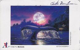 TC Japon / Série Peinture CHRISTIAN RIESE LASSEN / BALEINE - WHALE Japan Painting Phonecard - WAL TK - 07 - Delphine