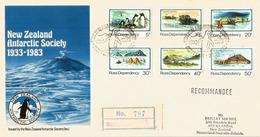 Base Scott. Cinquantenaire De La New-Zealand Antarctic Society. 1983. Volcan Mt Erebus 3795 M.Registered Letter. - Expéditions Antarctiques