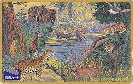 Carte Japon - ANIMAL - HIPPOPOTAME ELEPHANT PUMA Felin OKAPI - HIPPO Lesser Panda Bird Japan Card - NILPFERD - 172 - Jungle