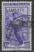 1950 Italia Trieste - Zona A (AMG FTT) Italia Al Lavoro 20 Lire Usato Filigrana Ruota - 7. Triest