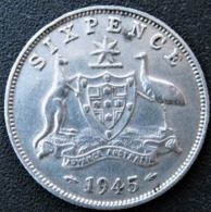Six Pence, 1945, Argent, George VI, Australia, SUP - Australia