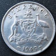 Six Pence, 1945, Argent, George VI, Australia, SUP - Australie