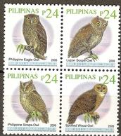 Philippines 2010 Owls ( 2009 ) 4v MNH** - Adler & Greifvögel