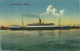 AK Schiff Dampfschiff Kronprinzessin Cecilie [=Princess] HAPAG Color ~1910 #65 - Steamers