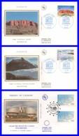 Service 114-115-116+117 Sur 3 FDC Illustrées Sur Soie (GF-PJ) - U.N.E.S.C.O. Conseil De L´Europe - France 1996 - FDC