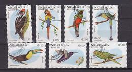 Série Complète Timbres OIseaux Dt Perroquet Colibri Toucan - Nicaragua - YT 1161/4 + PA 966/8 - Bird Vogel - Perroquets & Tropicaux