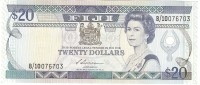 FIJI 20 DOLLARS 1988 PICK 88a AU/UNC - Fiji