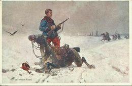 AK Krieg Kavallerist Bis Zur Letzten Kugel Color ~1915 #05 - Uniformen