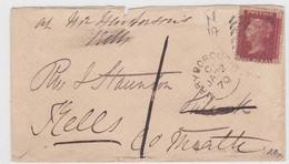 GRANDE BRETAGNE - 1870 - YVERT N° 26 (PLANCHE 117) SUR LETTRE DE MARYBOROUGH 6 TAXE DE 1 ! - Covers & Documents