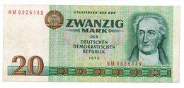 GERMANIA / GERMANY DEMOCRATIC REPUBLIC - 20 Mark 1975  Pick 29b Rep. Dem. Tedesca See Scan - [ 6] 1949-1990 : GDR - German Dem. Rep.