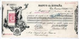 Letra De Cambio Banco De España 1909 Madrid Barcelona Vedi Foto Old - Spain